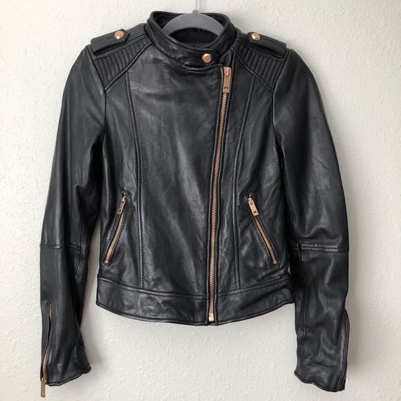 Zara lambskin leather moto jacket gold zipper S